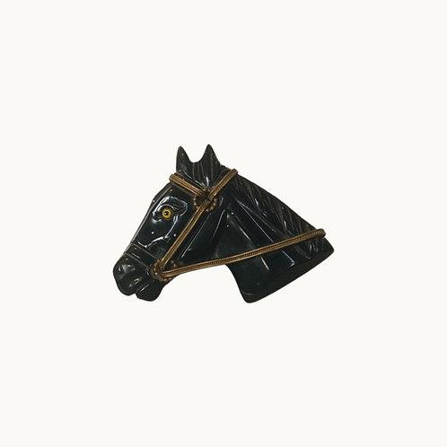 'VTG HORSE BAKELITE BROOCH' - Black