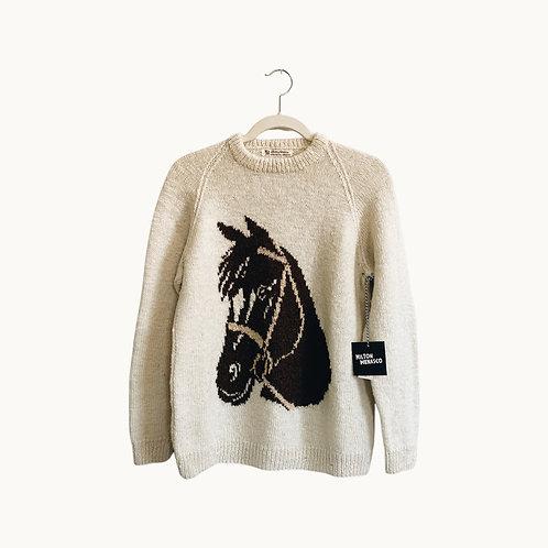 'VTG HORSE SWEATER' - Cream, Size Medium