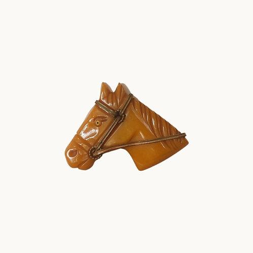'VTG HORSE BAKELITE BROOCH' - Butterscotch