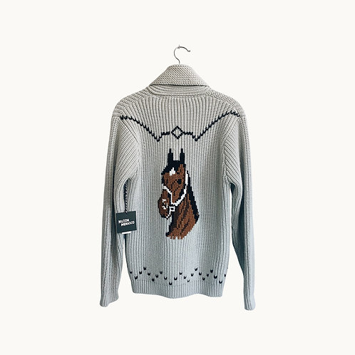 'VTG HORSE SWEATER' - Gray, Size Small