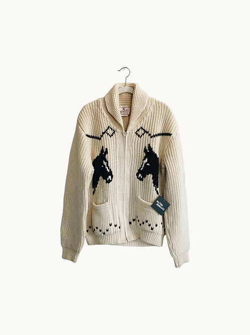 'VTG HORSE SWEATER' - Buttercream and Bay, Size Large