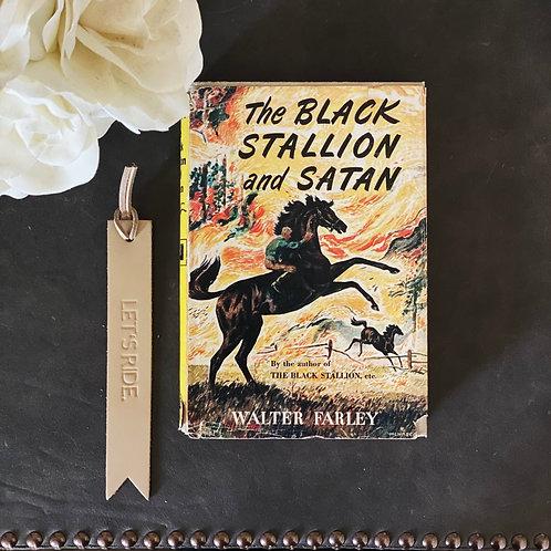 'THE BLACK STALLION & SATAN' Vintage Book & 'LET'S RIDE' Bookmark Set