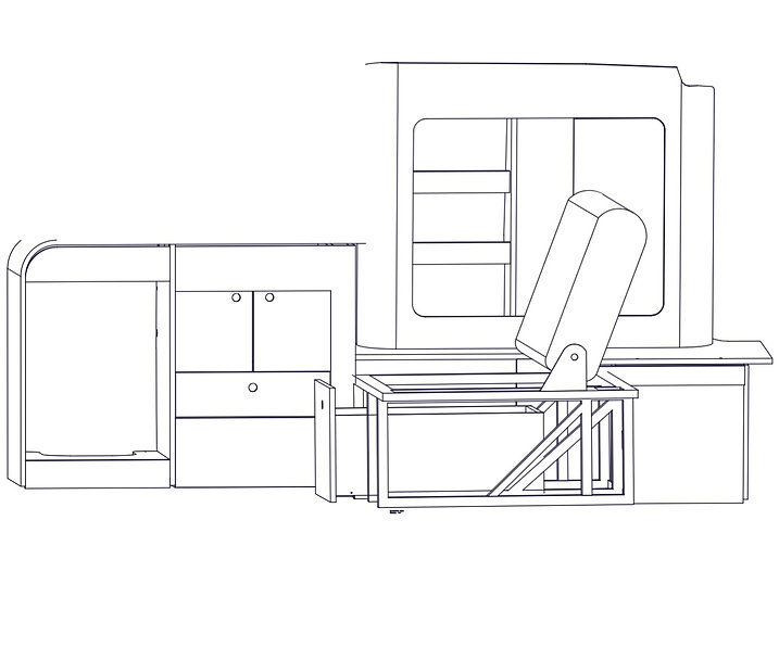Campervan conversion technical drawing
