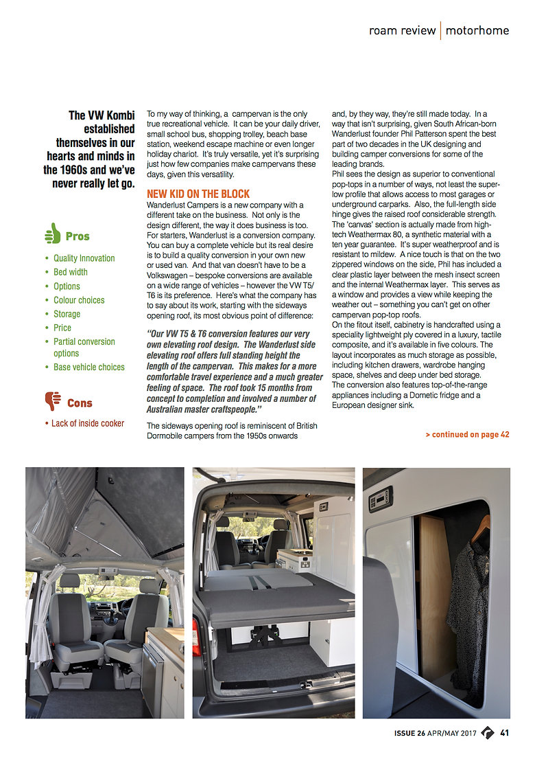 Time to Roam Magazine April 2017 Wanderlust Campers Review page 2