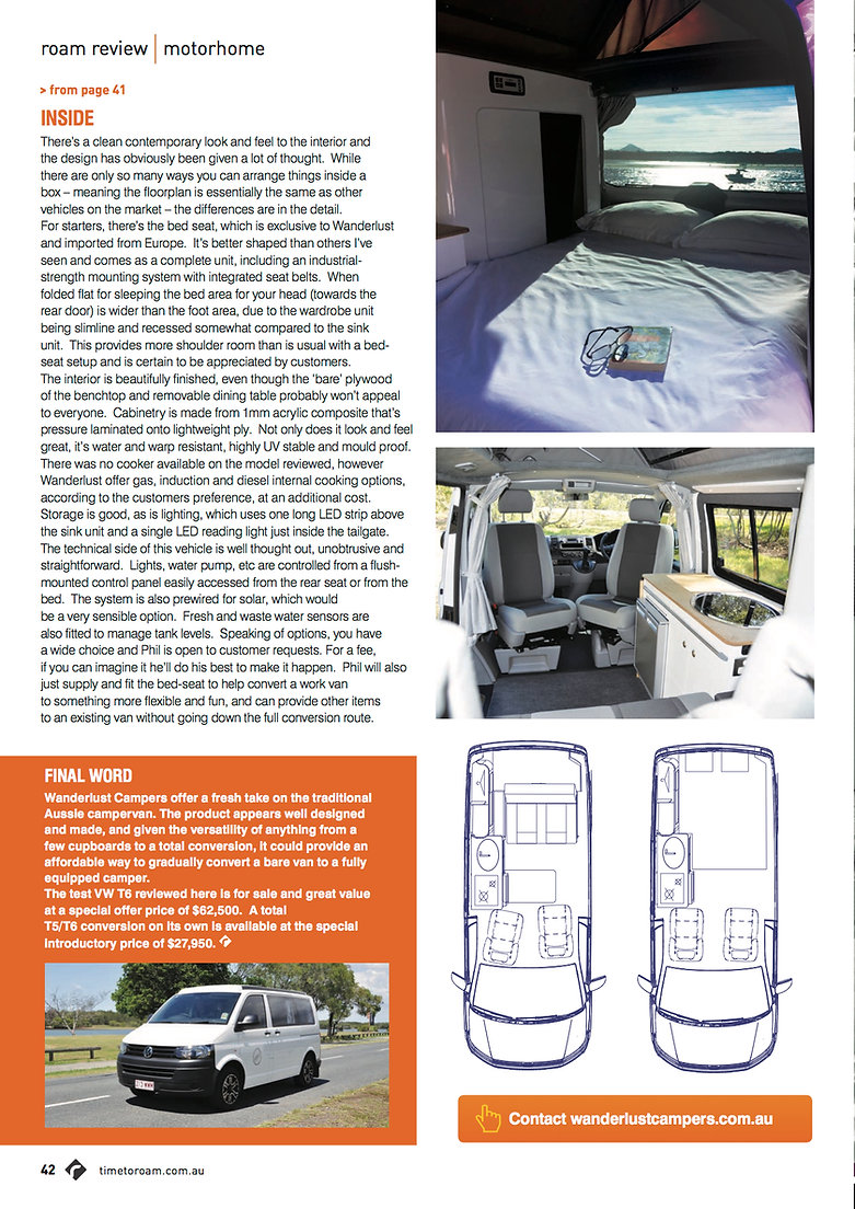 Time to Roam Magazine April 2017 Wanderlust Campers Review page 3