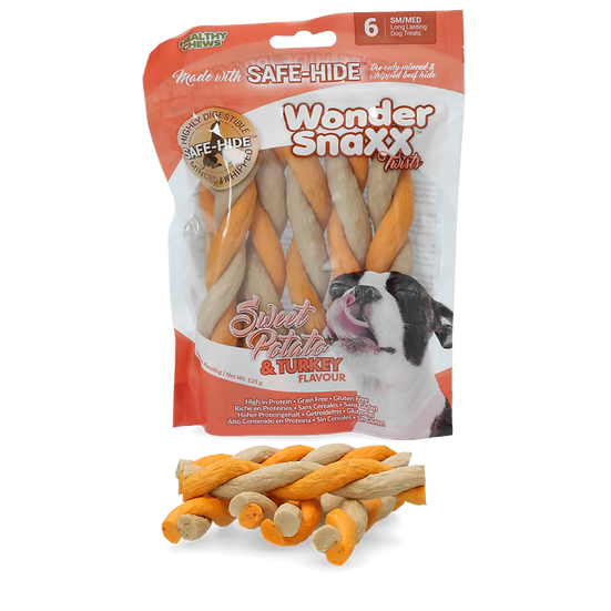 Wonder Snaxx Twists sweet potato and turkey- SAFE Rawhide