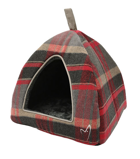 Camden Pyramid Bed (40x40x40cm) Red Check