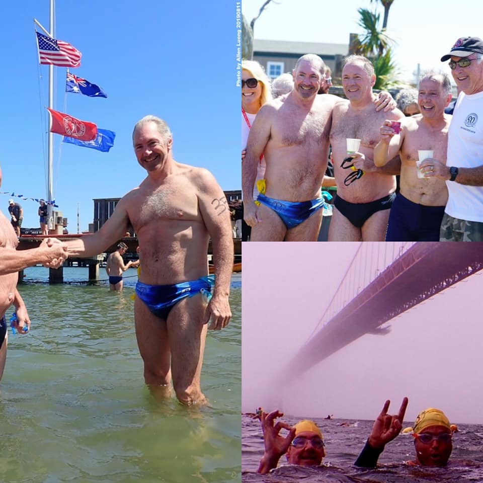 A collection of images from Michael Malleys ocean swim from Alcatraz and under the Golden Gate Bridge