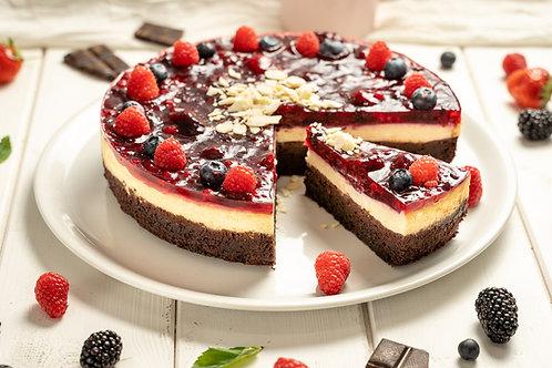 Brownie-chesecake s lesným ovocím