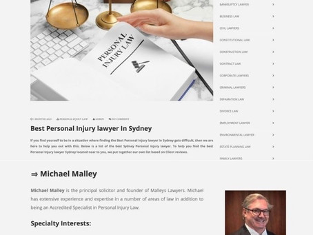 """Michael Malley featured in """"Best Personal Injury Lawyer Sydney"""""""