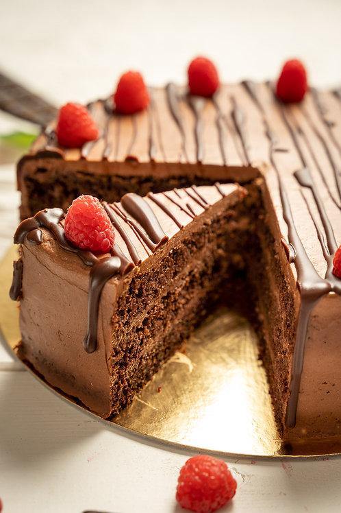 Čoko-malinová torta s domácim nugátom