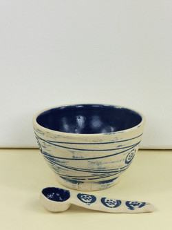 Mishima Blue Dipping Bowl & Spoon
