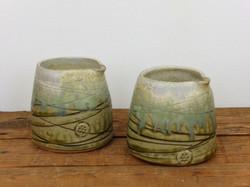 Small pouring jug, Wood Ash & Cream Glaz