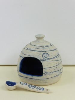 Mishima Blue Salt Pig & Spoon