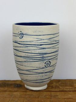 Mishima Blue 'Button & Thread' Vase
