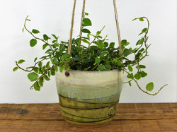 Olive Wood Ash & Cream Hanging Planter