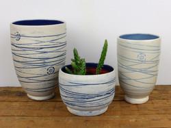 Mishima Blue vases & cactus planter