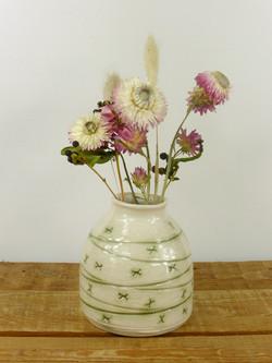 Green Mishima Bud Vase