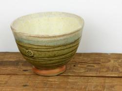 Donut Footed Bowl, Wood Ash & Cream Glaz