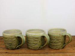 Trio of Mug, Wood Ash Glazed