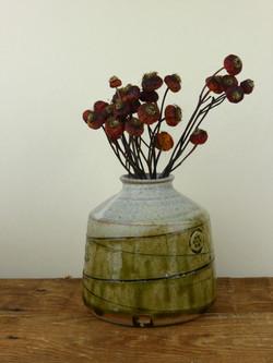 Bud vase, Wood Ash & Cream Glaze