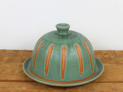 Teal butter dish