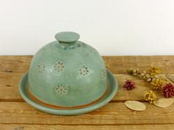 Jade Flower Imprint Butter Dish