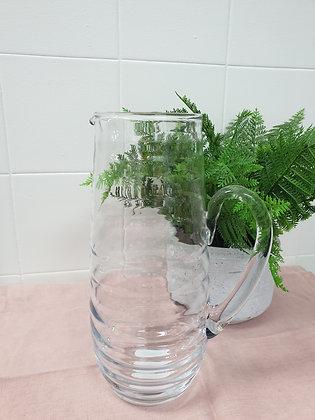 Ribbed Glass Water Jug