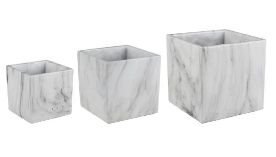 Square Marble Look Planters
