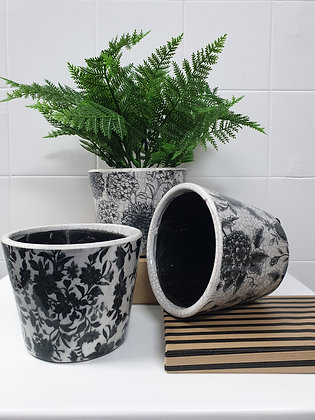 Black and White Floral Planters