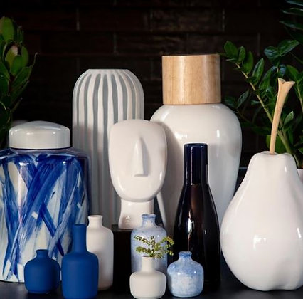 Navy Coal Bottle Vase