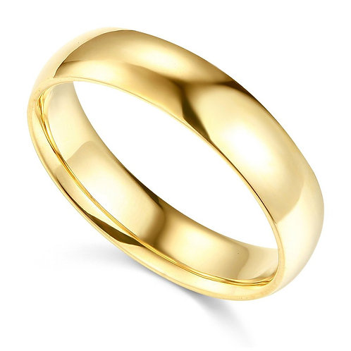 14k Yellow Gold 5-mm Comfort-fit Polished Wedding Band