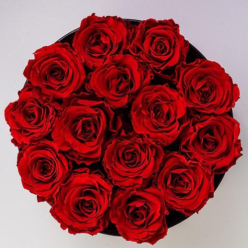 Caja Sombrera con Rosas Rojas