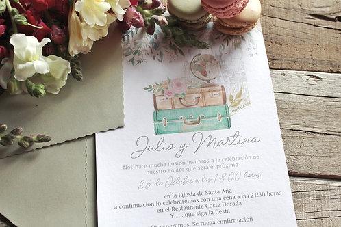 invitacion de boda, invitacion de boda viajera