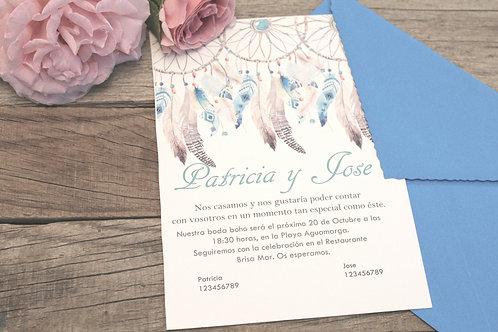Invitaciones de boda bonitas,invitaciones estilo boho