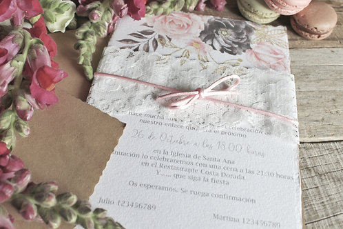 invitacion de boda, invitacion de boda en papel algodon