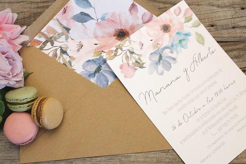 invitaciones de boda, invitaciones con sobre forrado