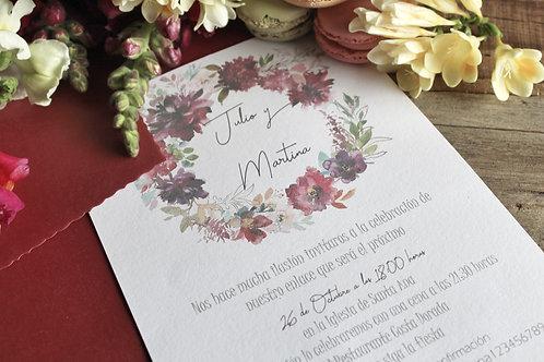 invitacion de boda, invitacion de boda romantica estilo acuarela