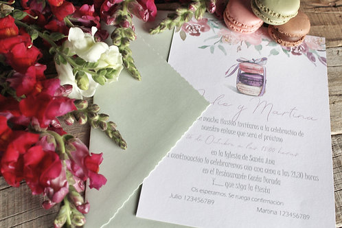 invitacion de boda, invitacion de boda con macarons