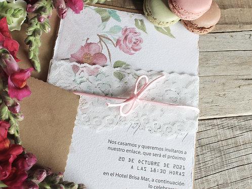 invitacion de boda, invitacion de boda papel de algodón