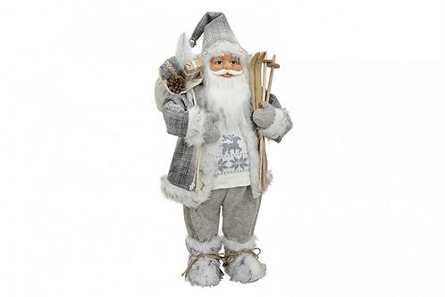 Papa Noel Nórdico Esquís Gris