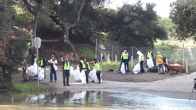 Cleanup team at Singleton Crossing with