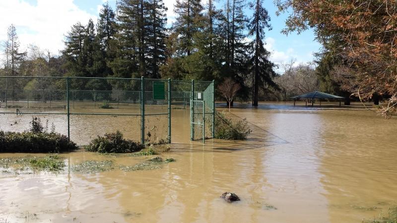 Flooding at Olinder Park tennis court