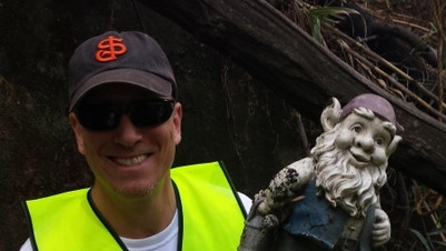 Gnome found - Los Gatos Creek cleanup