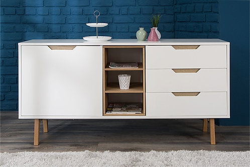 Aparador Bifet Moderno Blanco y Roble Ref: Loto Plus (150x40x75)
