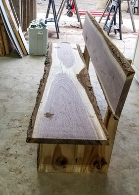 Black Walnut Bench w/ Hickory Base