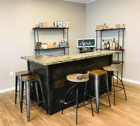 Rustic Oak Bar with Zinc Bar Top