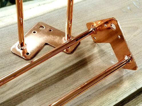 "Copper Plated Hairpin Legs - 28"" (clear coat)"