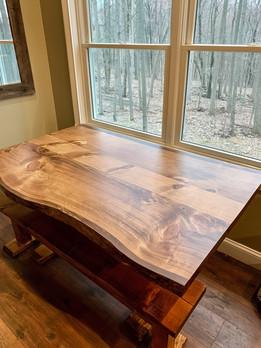 Live Edge Pine Farm Table w/ Bench