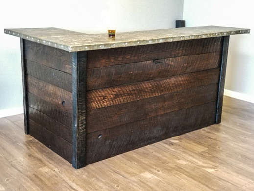 Patinated Zinc Bar Top w/ Rough Sawn Oak Base